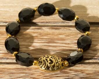 Filigree Gold and Black Beaded Bracelet