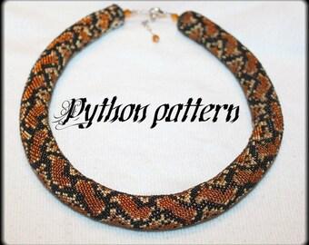 Python snake skin bead crochet rope necklace pattern