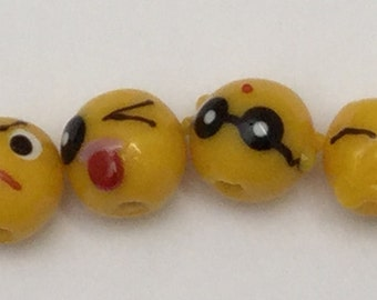 6 Beads - 14mm Handmade Glass Lampwork Yellow Funny Face Round Beads Set by AjLampworkBeads