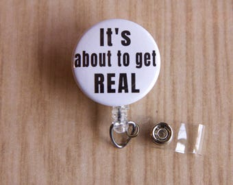 Badge Reel About to get Real ID Badge Holder- Badge Reel-Badge Holder- Nurse Badge Reel- Retractable Badge Holder - Medical, Office worker