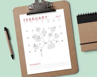 Printable 2017 Calendar - Simple Florals - Download & Print Calendar - Perpetual Calendar - Editable Calendar PDF - Calendar Template PDF