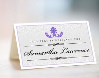 LADONNA Place Cards, Escort Cards, Table Cards, Name Cards, Table Signs, Wedding Stationery, Matching Pantone Ultraviolet Damask Name Cards