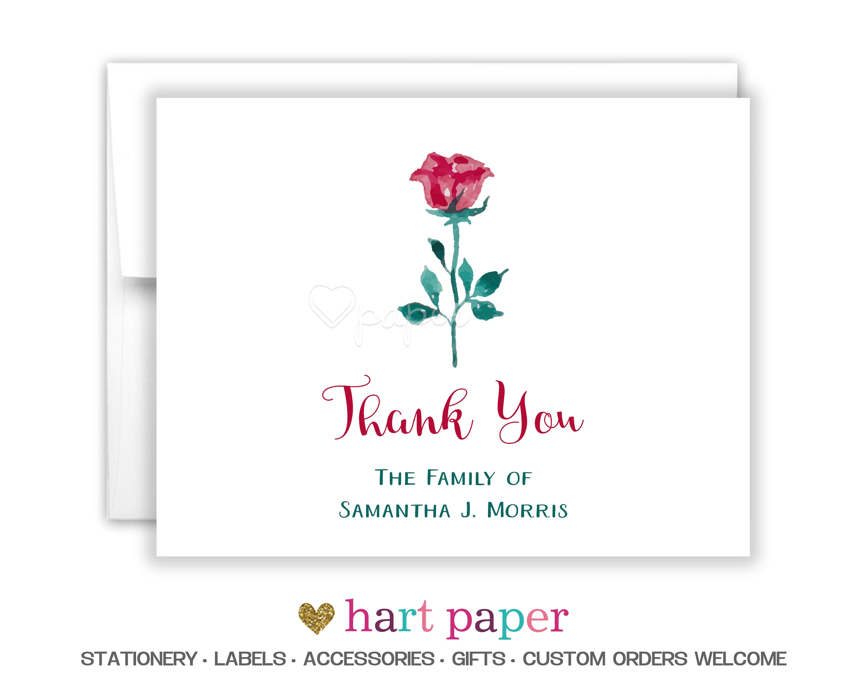 Flowers rose funeral printed thank you cards folded flat note zoom izmirmasajfo