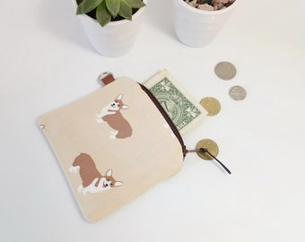 Coin Purse Corgi Womens Credit Card Wallet For Women Slim Wallet Welsh Corgi Gift Card Holder Zipper Pouch