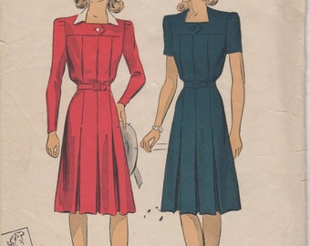 Bust 32-FACTORY FOLDED 1940's Misses' Tailored Dress Du Barry 5230 Sz 14