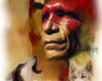 Desert Wolf,American Indian,Limited Edition,wolf art,native american art