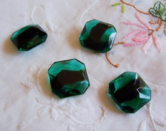 2 PC Green Faceted Vintage Glass Cushion Stone - ZNE M0305