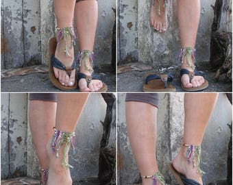 Macrame Barefoot Anklets/ Barefoot  Boho/ Tribal colorfull/ Dangle anklets/ Knotted anklets/ Macrame Anklet/ Hippie jewelry