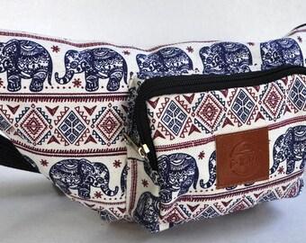 Fanny Pack blue / red elephant  hip bag,bum bag,waist bag,belt bag,hip pouch, festival bag, concerts bag, festival bag ,camping bag