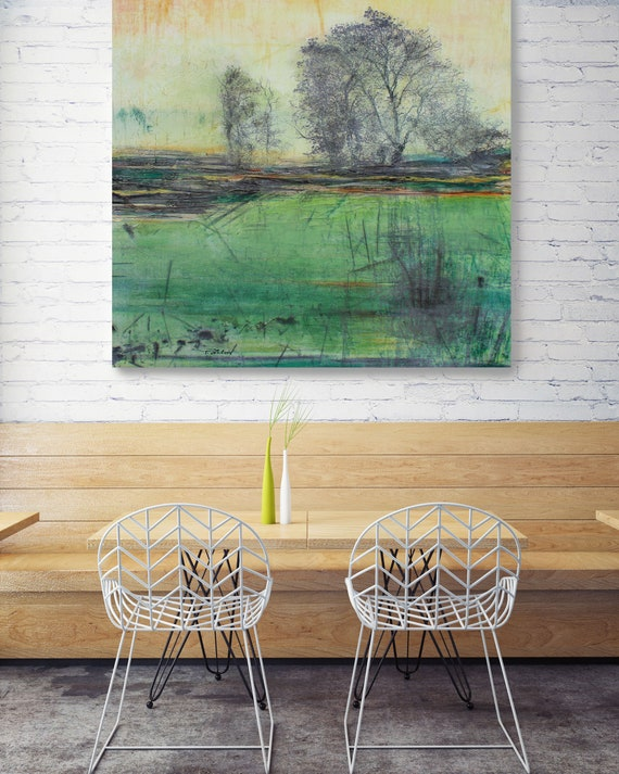 """Change of Seasons. Huge Rustic Landscape Painting Canvas Art Print, Extra Large Green Yellow Canvas Art Print up to 50"""" by Irena Orlov"""