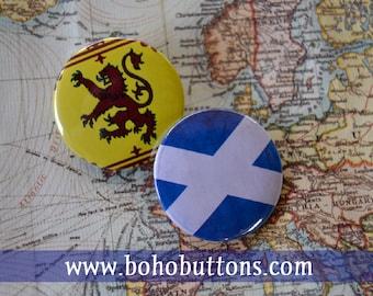Scotland Flag Set Pinback Button, Magnet, Badge, Scottish Button, Scotland gift, Edinburgh Pin, Souvenir Gift, Traveler Scotland Keychain