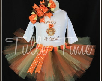 SALE Baby's first 1st Thanksgiving Daddy's lil' Turkey body suit onesie tutu dress outfit with bow sizes newborn, 0-3m, 3-6m, 6-12m 12m 18m