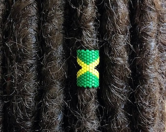 Jamaica Loc Jewelry, Dreadlock Accessory, Rasta Dread Bead, Cuff for Locs Braids Twists