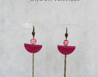 "Fiber earrings climb ""Dawn"" - fuchsia pink fabric"