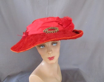 Rare Red  Edwardian Hat Titanic Era Plush Beaver Felt, Ostrich Feathers Wide Brim Antique Hat, 1900s Hat
