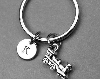 Steam train keychain, train keychain, train charm, train keychain, personalized keychain, initial keychain, initial charm, travel keychain