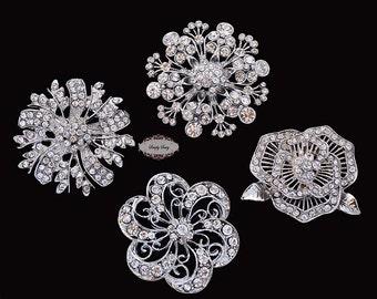 4 Rhinestone Brooch Embellishment Flatback Rhinestone Button Crystal Wedding Bridal Brooch Bouquet Invitation Cake Hair Jewelry Supply