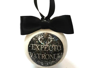 Expecto Patronum Christmas Tree Baubles/Decorations - choose your own glitter colour