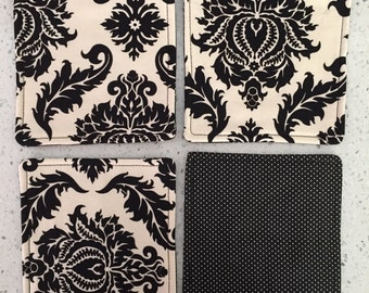 Drink Coasters - Set of 4 - Black and Ivory Damask
