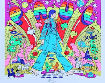 Paul McCartney Sgt. Pepper Psychedelic Pop Art Surreal Signed Screen Print!