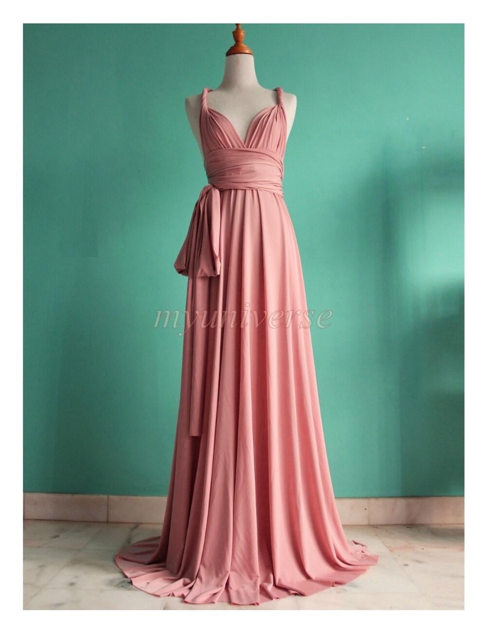Pink Bridesmaid Dress Wrap Convertible Dress Pastel Peach