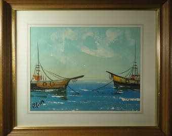 FISHING BOATS Oil Painting Seascape Original Art Nautical Painting Blue Ocean Ship Art Abstract Anchored Boats Sea Framed Maritime Painting