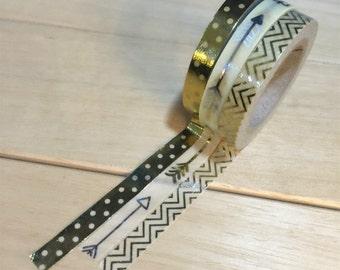 Golden Chervon Washi Tape (1 roll, 5mm X 10M)
