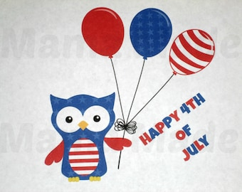 Boy's 4th of july shirt, boy's happy 4th of july shirt, boy's owl 4th of july shirt, boys 4th of july owl shirt, boys patriotic shirt