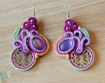 Handmade dangle soutache earrings
