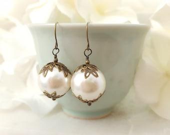 Cream Pearl Earrings Victorian - Pearl Drop Earrings Bridesmaid - Large Pearl Earrings Dangle - Vintage Style Bronze Bridal Jewelry E1231