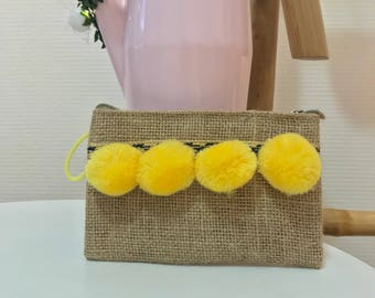 Clutch yellow PomPoms