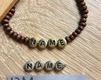 Bracelet beads brown gold silver personalized letters wood wooden beads bracelet personalized name wooden beads brown gold silver