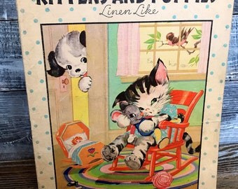 Vintage 1934 Ruth E.Newton Kittens and Puppies Linen Like Children's Book