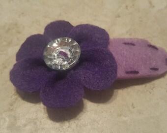 Purple Violet Felt Large Crystal Flower