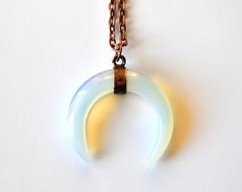 Necklace with opalite (Crescent Moon pendant glass Opal, Moonstone immitation)