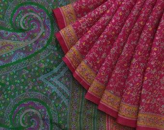 Vintage Sari 100% Pure Silk Indian Ethnic Pink Floral Printed Craft Fabric 5 Yrad VPS53140