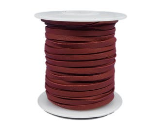 Red Deerskin Lacing - (1) 50 foot spool, 1/8th inch lace.  Deerskin lace. (297-18x50RD2) A2