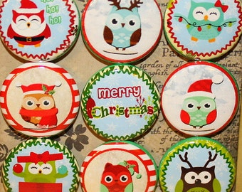 Christmas Owls Magnets - One Inch