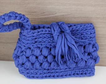 Blue Wristlet Clutch , Crochet Clutch , Blue Clutch , Sustainable Clutch , Summer Bag , Cute Clutch Bag , Crochet Bag , Eco Bag , Hobo Bag