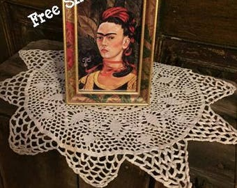 "Framed Frida Kahlo Self  Portrait With Monkey 1940 - Painted Wooden Floral Frame -  4.5"" x 6"" - Free Shipping!"