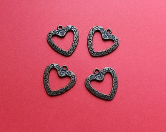 4 dark grey color engraved heart charms