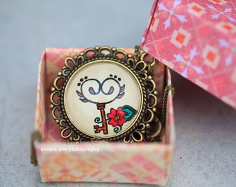 Vintage Key Necklace Hand Drawn Pendant Pop Culture Henna Mehndi Vintage Style Handmade Jewelry Antique Style