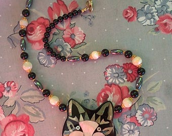 Vintage Lee Sands Inlaid Mother Of Pearl And Gemstone Cat Necklace