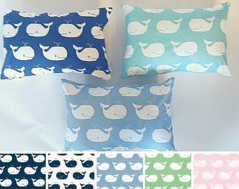 Nautical Whale Pillow Covers - Navy Pink Green Blue - Baby Nursery Decor - Pastel Nursery Pillow - Baby Boy, Baby Girl Nursery Decor