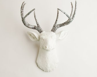 Mother's Day Gift- Faux Stag Taxidermy - The Weston - White W/ Silver Glitter Antlers Resin Deer Head- Stag Resin By White Faux Taxidermy