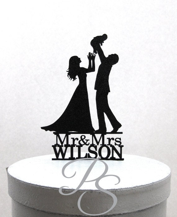 Personalized Wedding Cake Topper family wedding with a baby