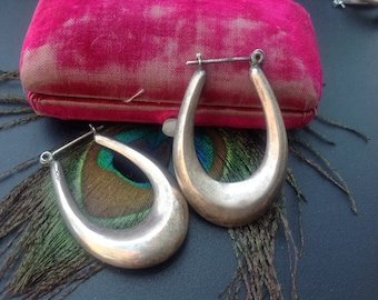 Large Vintage sterling silver 925 oval hoop earrings 11.9 g Lovely