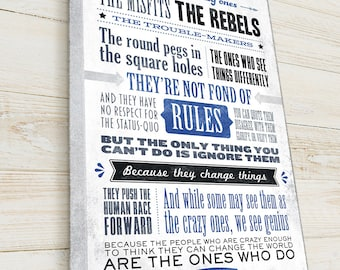 Steve Jobs Quote, Here's to the crazy ones, Letterpress style typography, READY TO HANG Canvas Gallery Wrap, Famous Quote