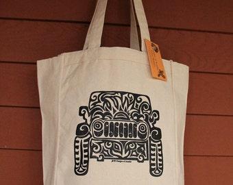 JEEP Tribal Tattoo Design Grocery Tote Bag -  Screen Printed Original Design