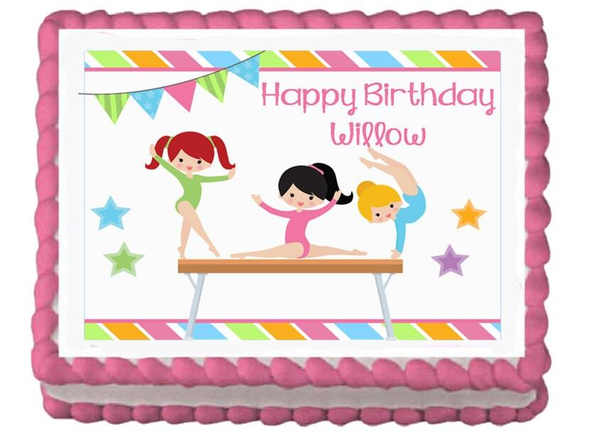 Gymnastics Gymnast Girls Tumbling Edible Birthday Party Cake